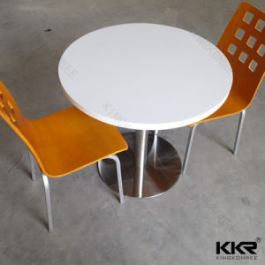 Two Seaters Round Solid Surface Restaurant Dining Table Set (T170925) pictures & photos
