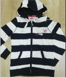 Stock Garments, Lady′s Strip Hoodie, Cheaper Price Hoodie pictures & photos