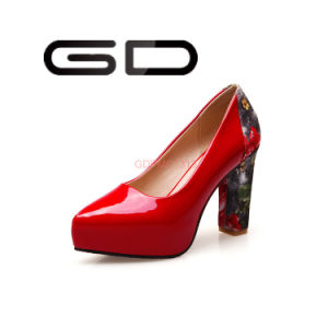 Chunky Heel Print Heel PU Shoes South Africa Shoes pictures & photos