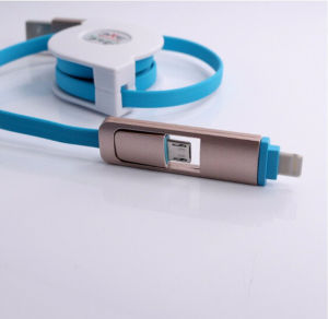 2 in 1 Retractable USB Data Charging Cable for Data Transfer with Ios and Android Phones pictures & photos