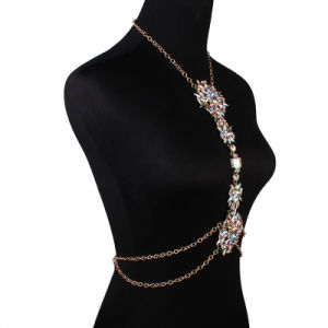 Fashion Designer Colorful Rhinestone Flower Crystal Diamond Chain Body Jewelry pictures & photos