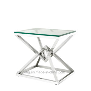 Modern Golden Mesh Base Design Clear Glass Top Coffee Table and Side Table.