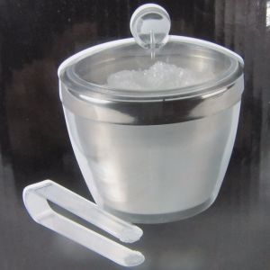 Stainless Double Wall Plastic Wall Ice Bucket with Tong pictures & photos
