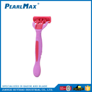 Six Blade Razor for Women, Rubber Handle Pivoting Head pictures & photos