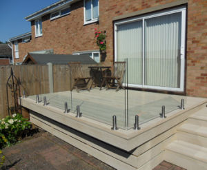 Frameless Glass Railing for Terrace with Stainless Steel Spigots pictures & photos