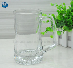 340ml High Transparent Lead-Free Glass Beer Mug with Handles pictures & photos