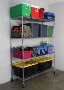 Adjustable 4 Tiers 800 Lbs Heavy Duty Restaurant Food Storage Equipment Chrome Wire Shelving Rack Shelf Trolley, NSF Approval pictures & photos