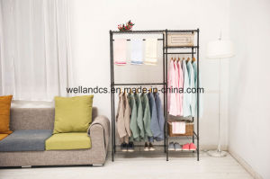 Cheap Canvas Metal Wardrobe Garment Rack for Bedroom Clothes Storage pictures & photos