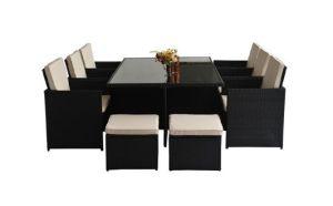Rattan Aluminium Outdoor Garden Furniture 11 PCS Cube Dining Set Black