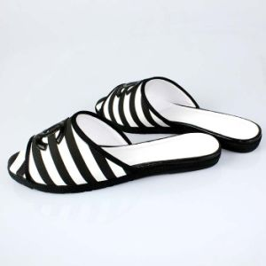Cosy Canvas Flat Stripe Slippers