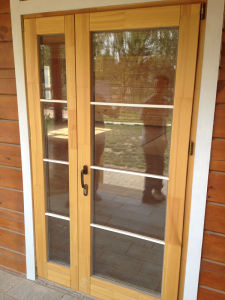 Solid Oak Wood Aluminum French Door with Double Glazing pictures & photos