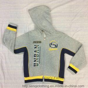 Grey Contrast Yellow Baby Boy Fleece Hoodies with Zipper Sq-6442 pictures & photos