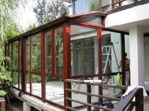 Wind Resistance Slant Design Aluminum Frame Glass House (pH-8117) pictures & photos