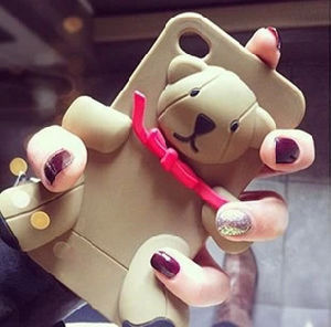 Teddy Bear Silicone Soft Back Cover Case for iPhone 4 4s 5