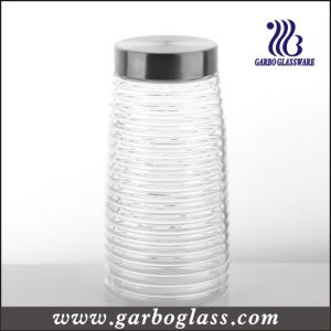 Cross Stripe Lidded Tall Glass Bottle &Food Container (GB2102F-1) pictures & photos