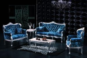 Classic Ocean Blue Fabric Living Room Sofa (A80080)