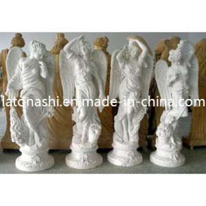 Cheap White Marble Stone Outdoor Garden Statue with Wings pictures & photos