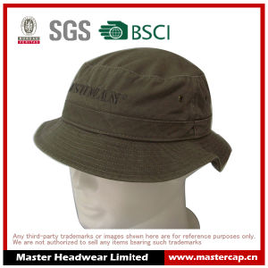 Brown Unisex Adults Bucket Hat with Embroidery