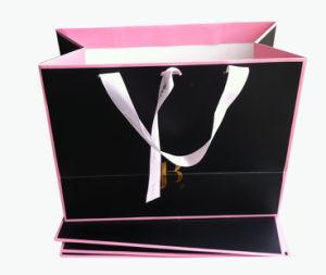 Black High Quality Elegant Design Paper Bag with Ribbon Handles (YY-B0200) pictures & photos