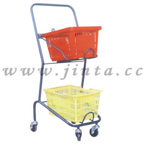 Cart with Baskets, Supermarket Use Plastic Basket Cart (JT-E14) pictures & photos