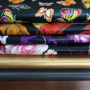 Artificial Faux PU Printing Garment Leather Fabric Rexine Manufacturer