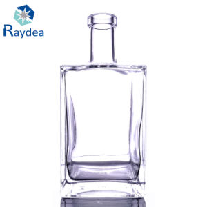 750ML Square Flint Glass Bottle with Cork Top pictures & photos