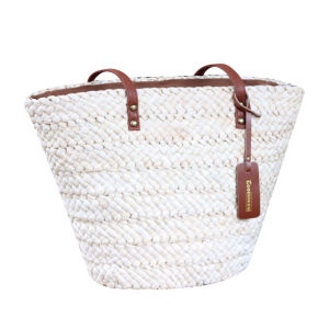 Women Natural Straw Beach Tote Bag with Leather Handle