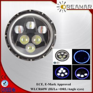 7inch 60W Hi/Lo Beam +DRL/Angle Eyes LED Headlight with ECE, E-MARK pictures & photos