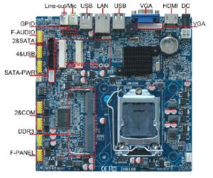 Motherboard with DC 12V, Support Intel Core I7, I5, I3 Series Processor pictures & photos