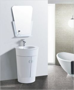 Round PVC Cabinet Round Ceramic Basin Bathroom Vanity