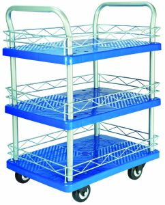 300kg Double Deckers Plastic Hand Trolley with PVC Caster pictures & photos