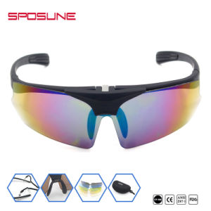 Premium Anti-UV400 Welding Safety Glasses Black Frame Polarized Lens Cycling Fishing Hiking Travelling Lift up Wrap Around Sunglasses pictures & photos