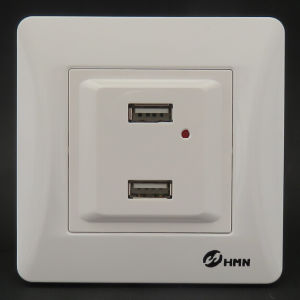 Hermano High Quality Switch Socket Supplier Double USB Outlet 2100mA pictures & photos
