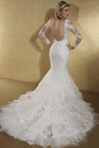 Fantacy Backless Long Sleeves Lace Mermaid Wedding Dress with Layers Skirt and Chapel Train pictures & photos