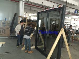 Customized Three Tracks Aluminum Sliding Door with Crim Safe Screen pictures & photos