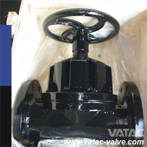 Flat Face ANSI/JIS/GB/BS Pn10/Pn16 Weir Type Cast Iron Gg25 Diaphragm Valve Lined PTFE pictures & photos