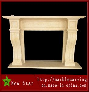 Beige Stone Carving Beige Marble Fireplace for Indoor Decoration (NS-12F8) pictures & photos