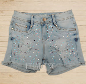 2016 Wholesale China High Quality Fashion Summer Denim Ladies Short Jeans Pant Hdlj0059 pictures & photos