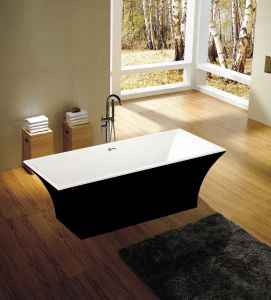 Black Square Freestanding Soaking Bathtub pictures & photos