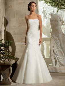 Custom Made off-Shoulder Lace Mermaid Wedding Bridal Dress pictures & photos