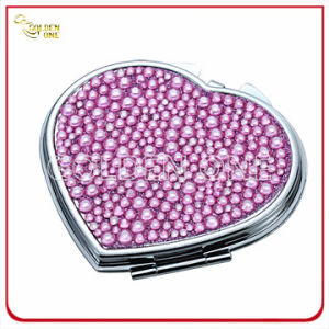 Creative Crystal Stone Heart Shape Chrome Makeup Mirror pictures & photos
