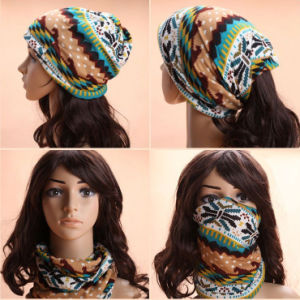Lady Fashion Printed Cotton Knitted Winter Warm Ski Hats (YKY3138-2) pictures & photos