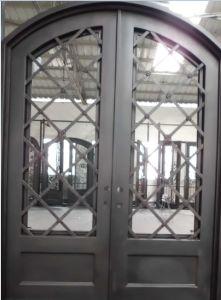 Elegant Eyebrow Arch Top Wrought Iron Double Door pictures & photos