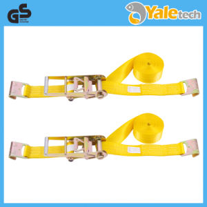 TUV/GS Certified Reinforced Polyester Lashing Strap with Flat Hooks pictures & photos
