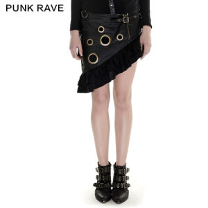 Q-283 Steampunk Metal Flounce Skirt 2016 New Spring and Summer Girl Sexy Wrap Dress pictures & photos