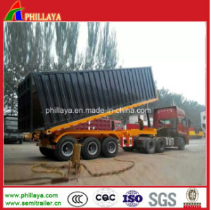 3 Axles 40ft Container Flatbed Semi Truck Tipping Trailer pictures & photos