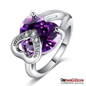 Amethyst Zircon Heart Zircon Rings Luxury (CRI0057-B)
