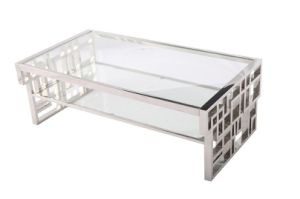 Stainless Steel Folding Coffee Table with Tempered Glass Top pictures & photos
