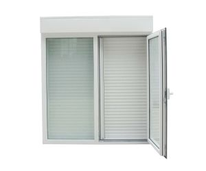 Double Glazed Low E Glass PVC Casement Window with Shutter Louver pictures & photos