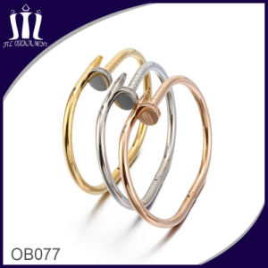 High Polish Stainless Steel Nail Bangle Gold Color pictures & photos
